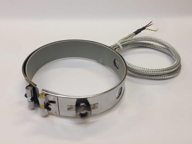 Collier chauffant mica blindé avec support de capteur de température – SCIENTAX // Armoured mica heating band with temperature sensor holder - SCIENTAX