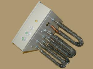 Batterie rectangulaire sans cadre avec éléments chauffants à ailettes spiralées et thermostat de sécurité– SCIENTAX
