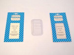 Exemple de réalisation de blister réalisé par la thermoscelleuse - SCIENTAX. // Example of a blister pack produced by the heat-sealing machine - SCIENTAX.